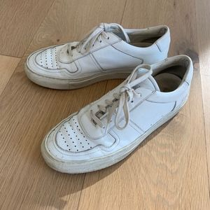 Womens white Common Projects basketball sneakers